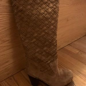 Authentic UGG Tall Chestnut Suede Clog Boot